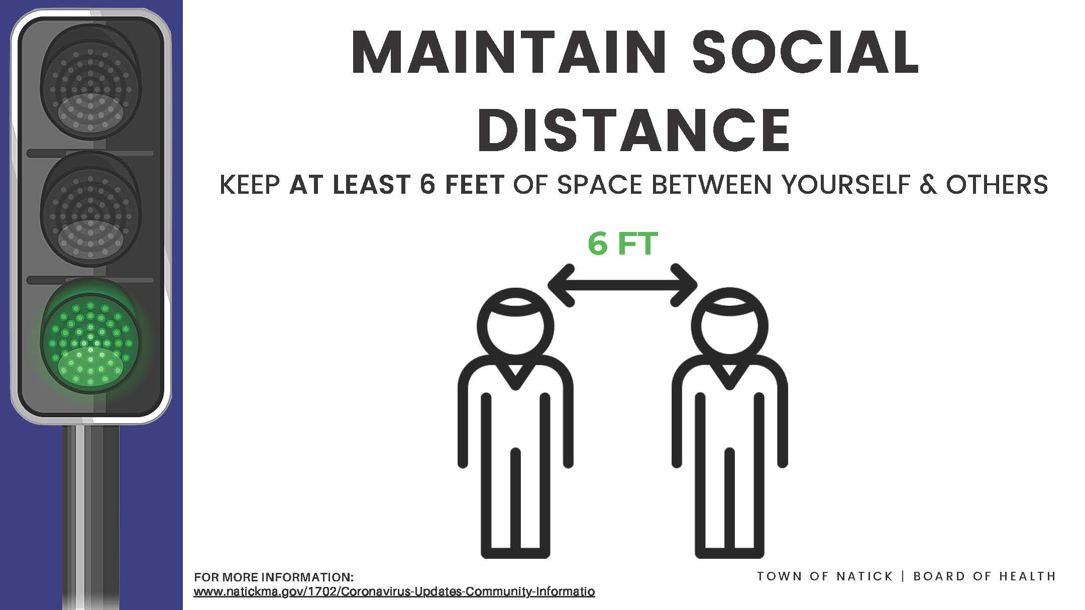 Maintain Social Distance  6 Feet (Corrugated plastic) Outdoor Sign