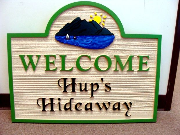 "M22354 - Carved  HDU Welcome  Sign to ""Hup's  Hideaway"" with Sailboat"