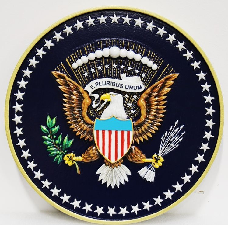AP-1172 - Carved 3-D Plaque of theSeal of the President of the United States (Without the Border)