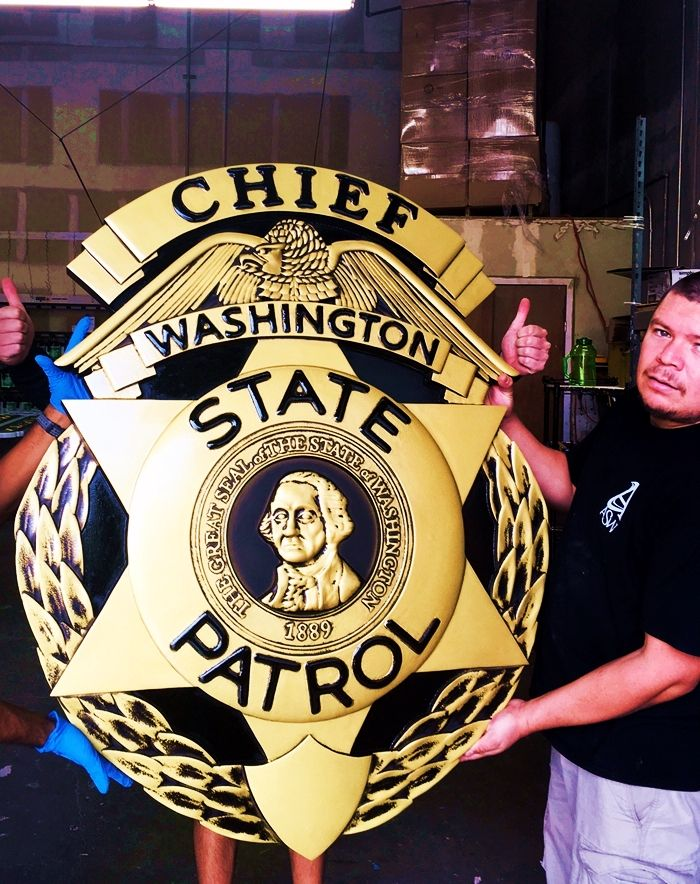 PP-1780 - Carved Wall Plaque of the Police  Badge of  the  Chief of the Washington State Patrol,  Painted Metallic Brass