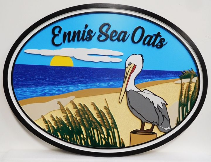 """L21604 - Carved Coastal Home Name Sign , """"Ennis Sea Oats"""", with Ocean, Setting Sun,  Pelican, and Sea Oats as Art"""