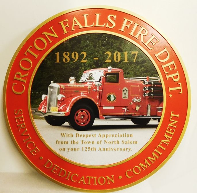 QP-3055 - Carved Commemoration Wall Plaque of  the Seal  of the City of Croton Falls Fire Department, New York, Artist Painted with Giclee Photo