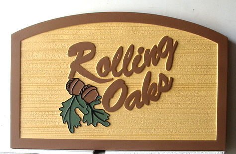 "I18336 - Carved and Sandblasted 2.5D HDU  Property Name Sign,""Rolling Oaks"""