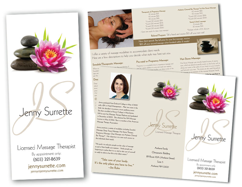 Jenny Surrette Massage Therapist Brochure