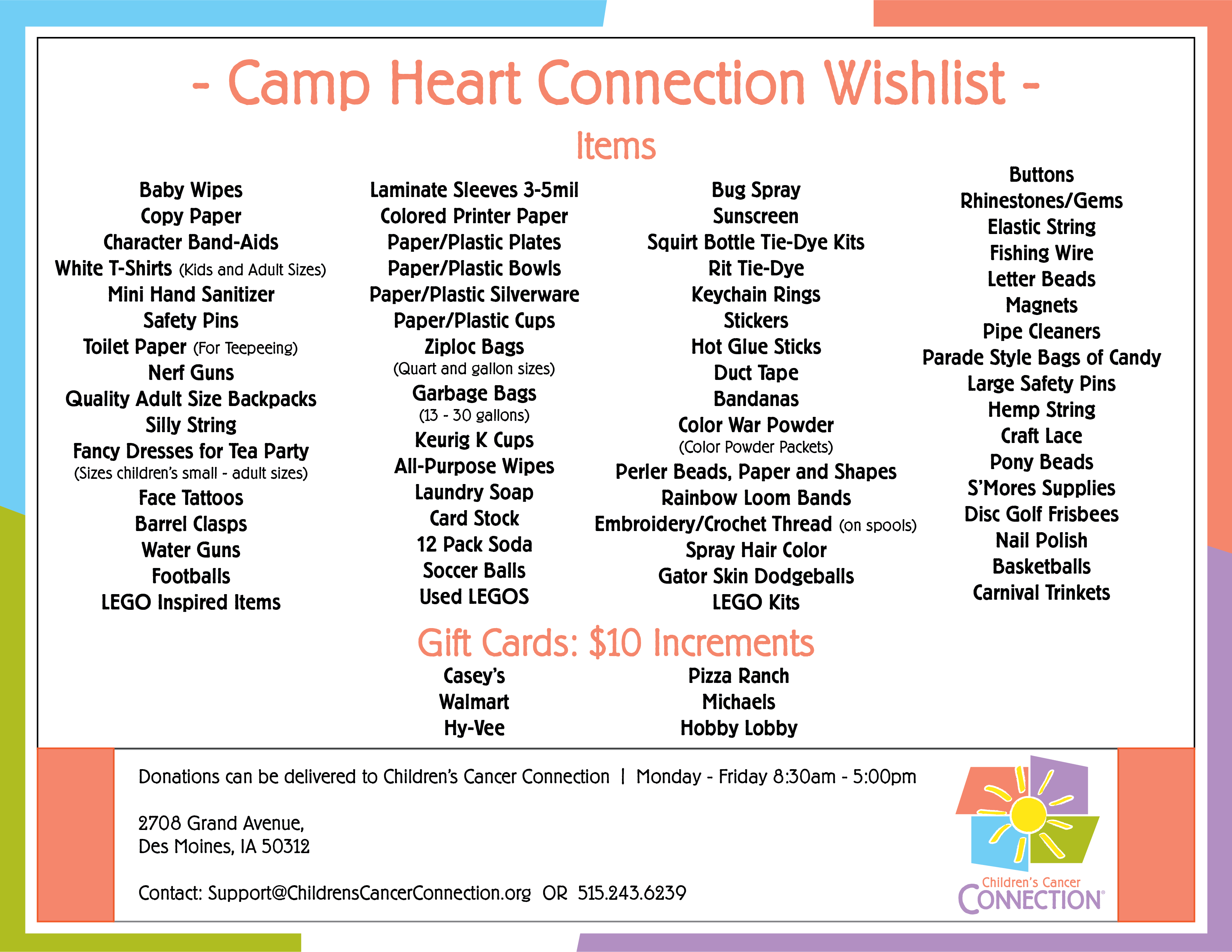 Camp Heart Connection Wish List