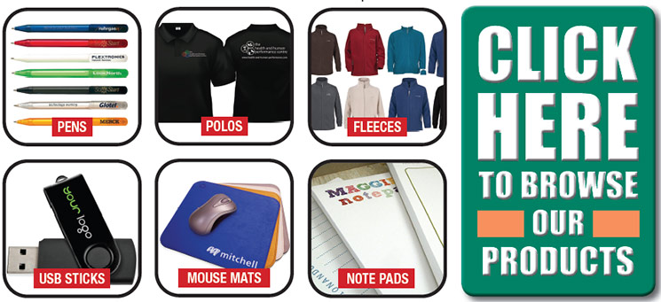 promotional products - pens, polos, fleeces, usb sticks, mouse mats, note pads