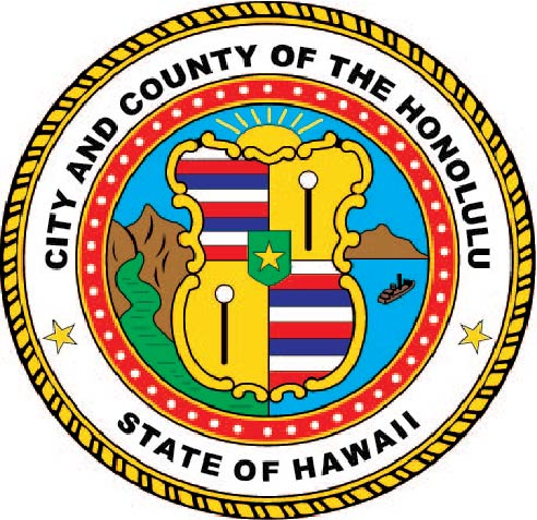 DP-1520 - Carved Plaque of the Seal of the City of Honolulu, Hawaii,  Artist Painted