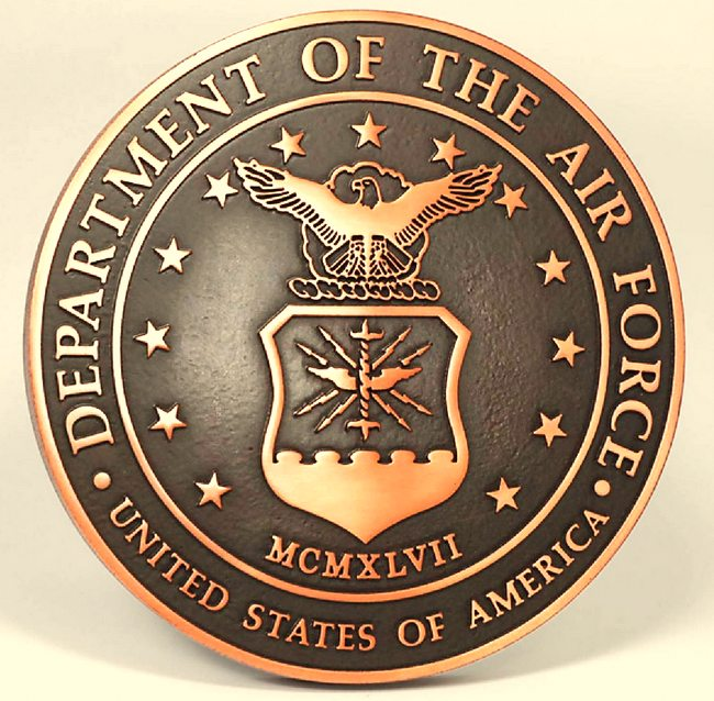 LP-1130 -  Plaque of the  Seal  of the US Air Force, 2.5-D Brass Plated