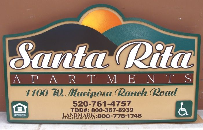 M5144 - Carved Sign.for Santa Rita Apartments, with Setting Sun over the Mountains (Gallery 19)