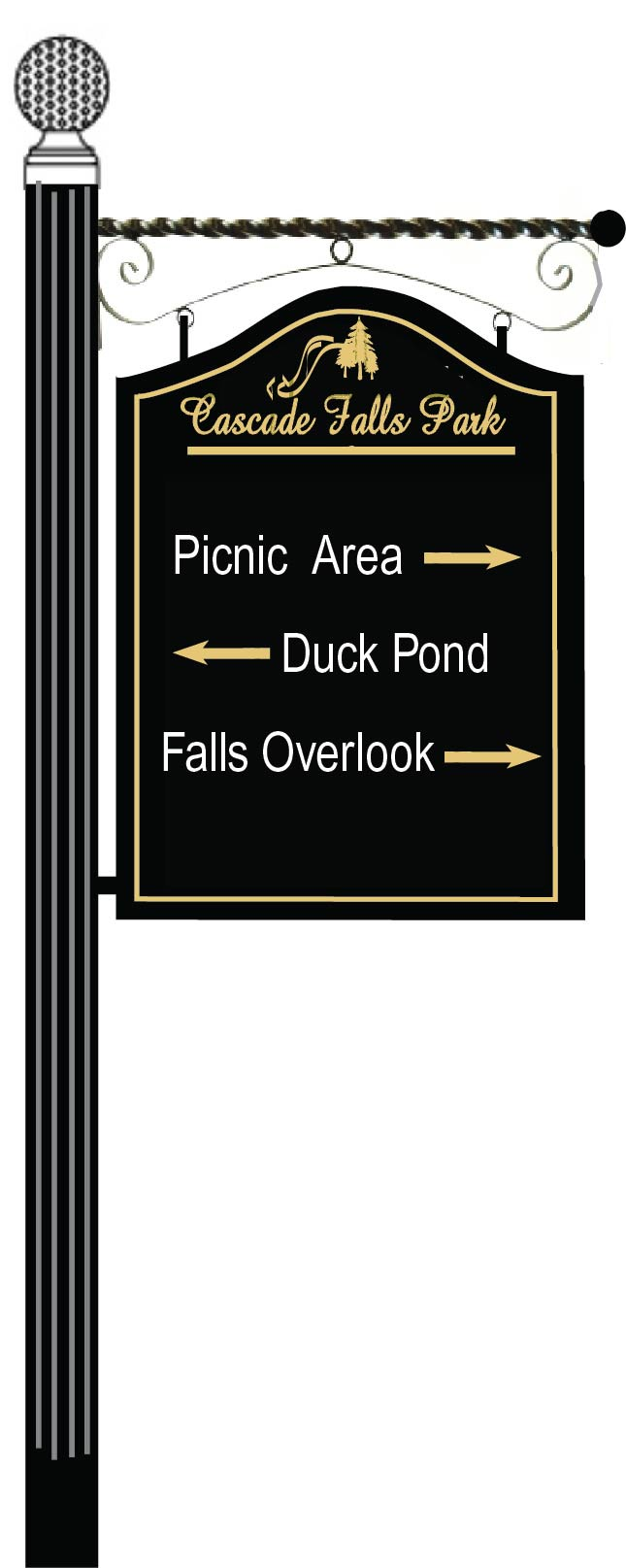 GA16580 - Design of Wood or HDU Post and Bracket Sign for Park Picnic Area, Duck Pond and Falls Overlook