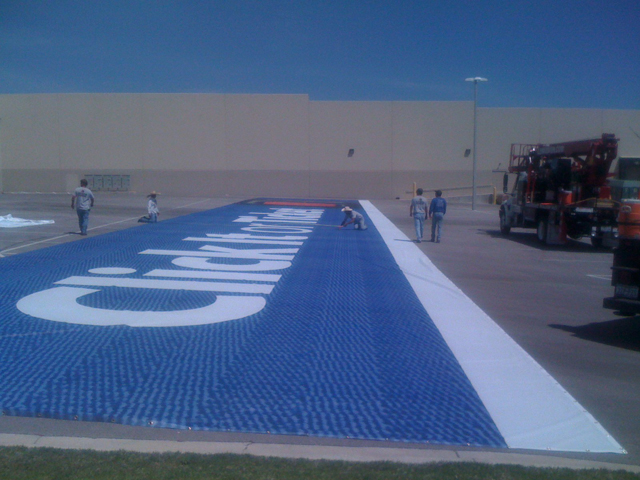 Click It or Ticket - 32'x 192'7'' Banner on the ground