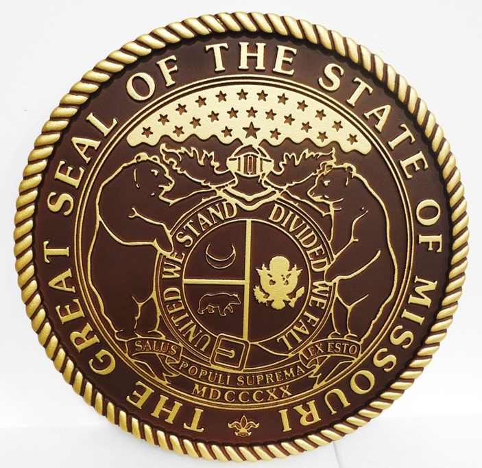 BP-1285- Carved Plaque of the Great Seal of the State of Missouri, Brrass-Plated