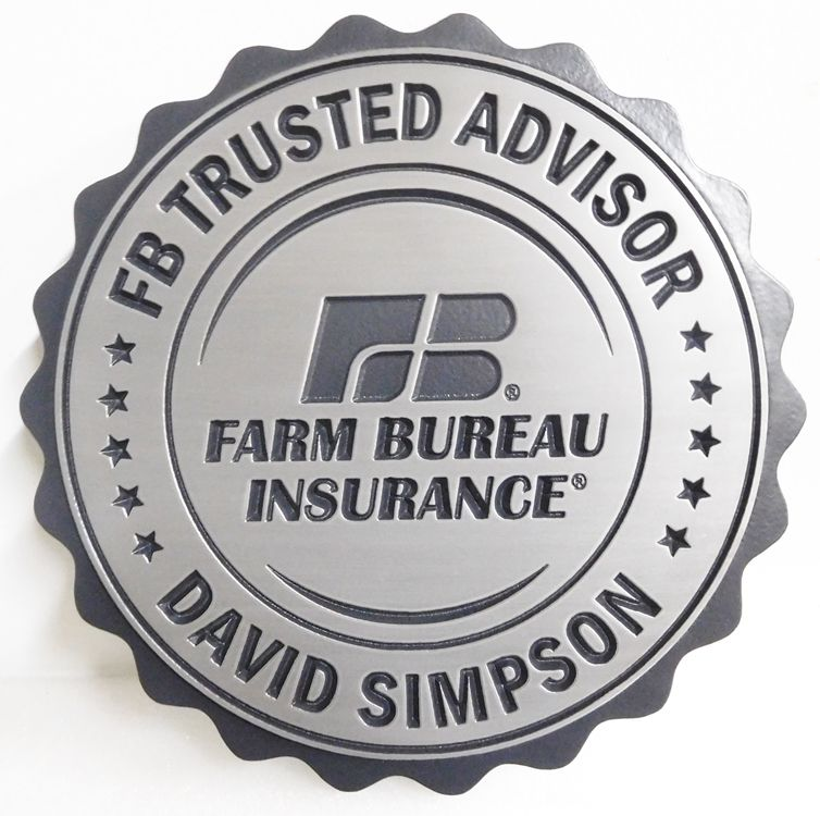 C12515 - Engraved Round Farm Bureau Insurance Plaque, Aluminum-Plated
