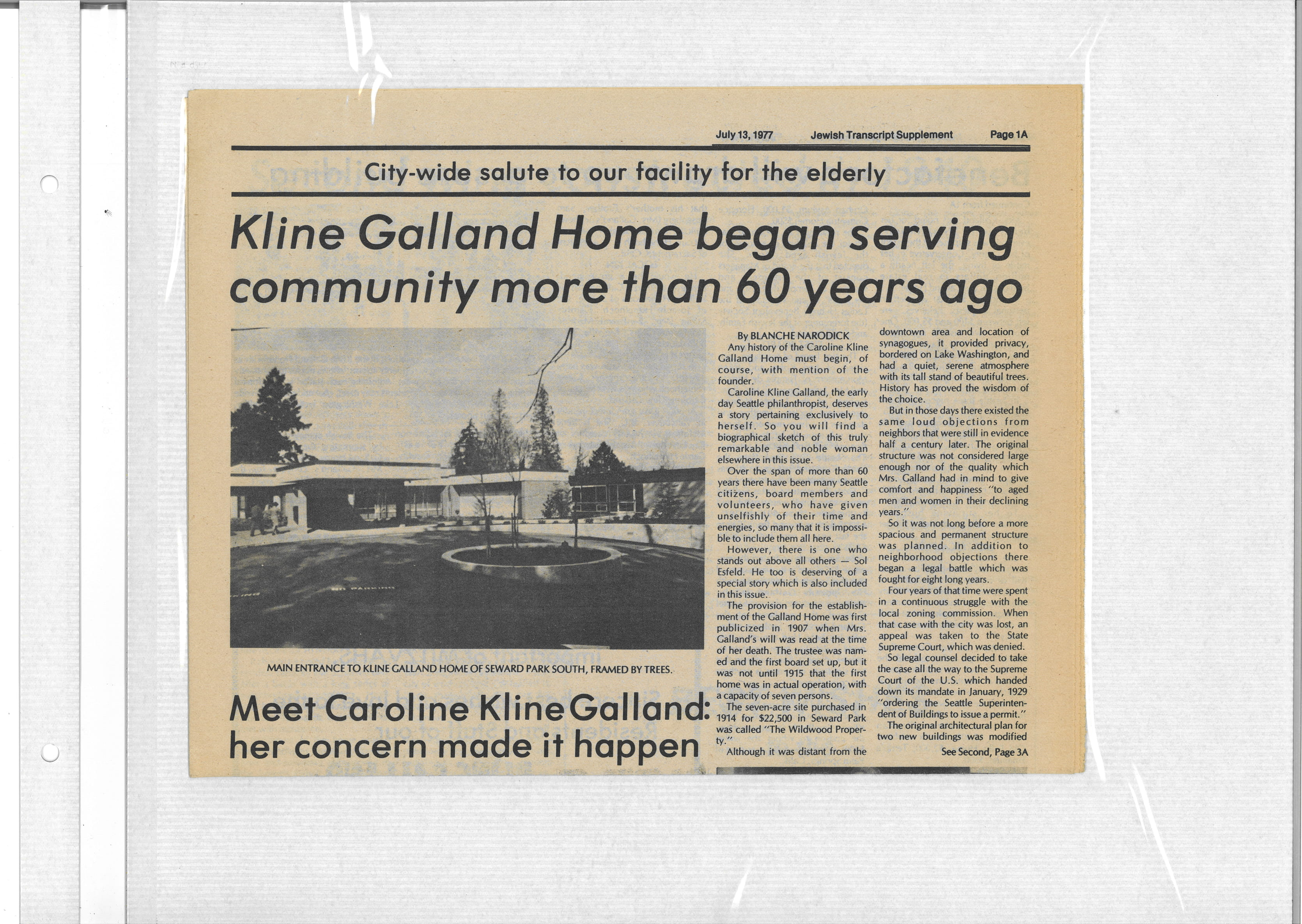 The sixtieth anniversary of Kline Galland (July 13, 1977)