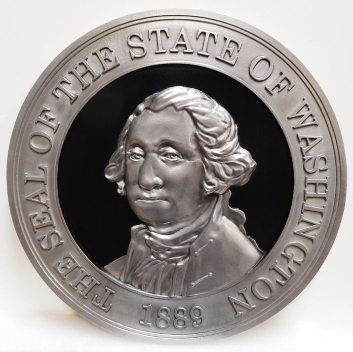 W32524 - Carved 3-D Aluminum-Plated Plaque of the Great Seal of the State ofWashington