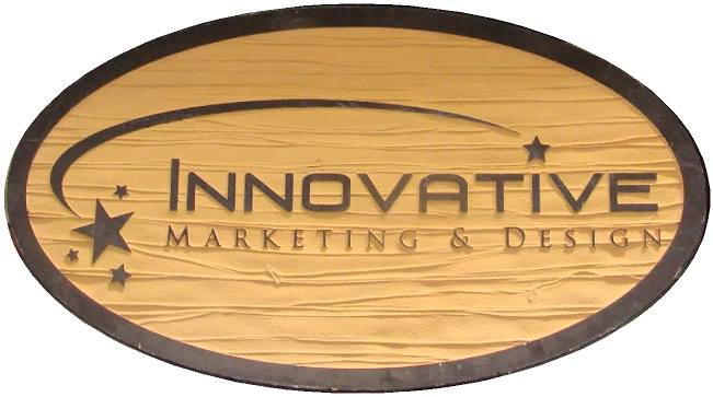 """SA28536 - Carved HDU Sign for the   """"Innovative Marketing & Design """" Company, with Shooting Star"""