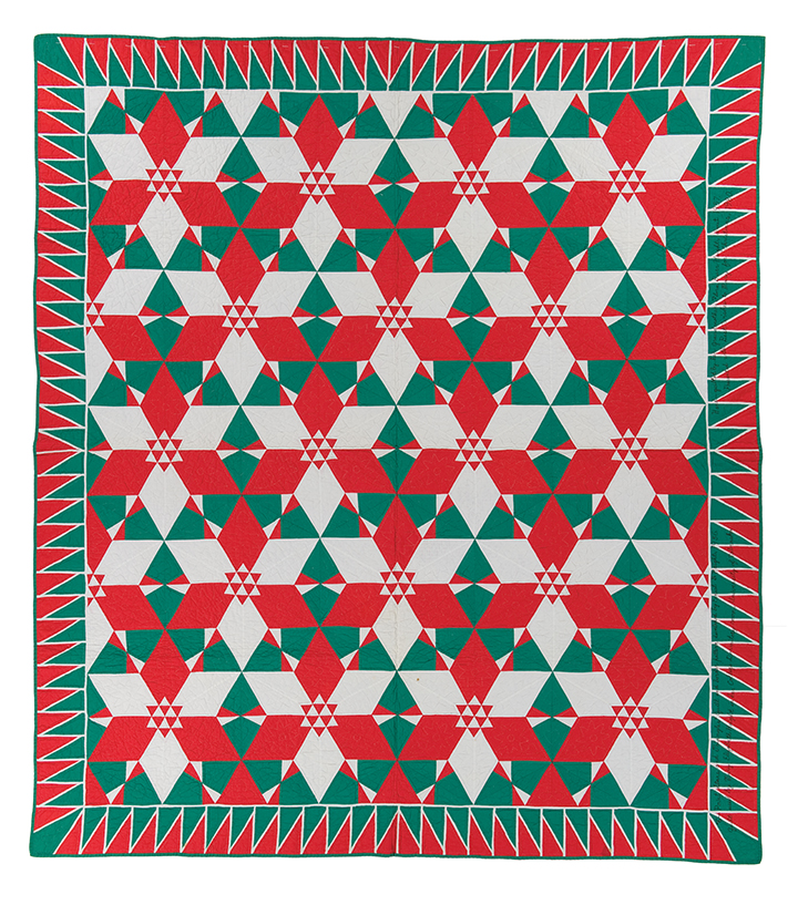 """6-Point Stars with Triangles quilt, original design and piecing by Ernest B. Haight, 1956, hand quilted by Flora Burr Haight, 1957, 89.75"""" x 79.5"""", loaned by Mary E. Haight"""