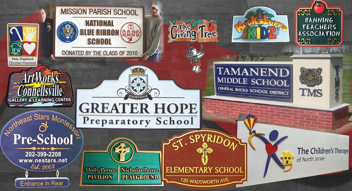 High School, Prep School, Middle School , RElementary school, and Pre-School Signs & Plaques