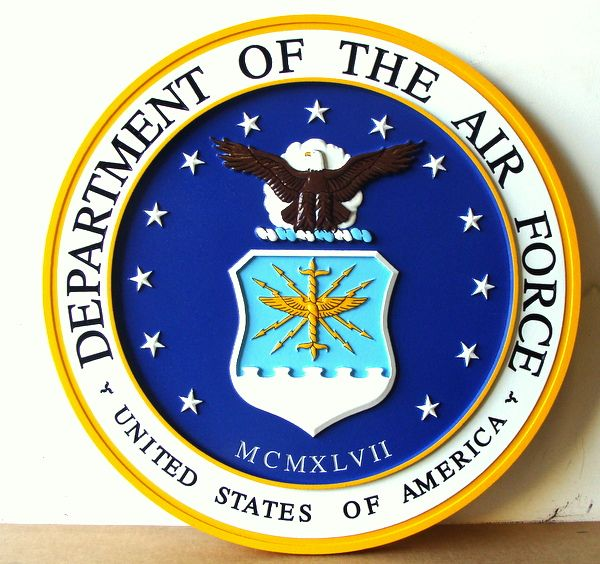 V31501 - Carved 3-D Wall Plaque of the Seal of the US Air Force (USAF)
