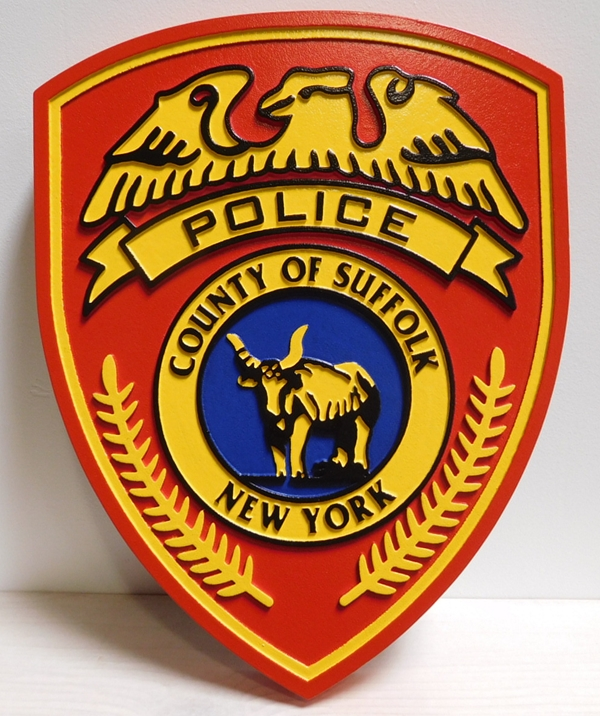 PP-2110 - Carved Plaque of the Shoulder Patch of the Police of the County of Suffolk, New York -2.5-D, Artist-Painted