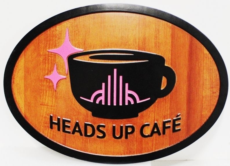"Q25429 - Carved 2.5-D Cedar Wood Sign for the ""Heads-Up Cafe"""