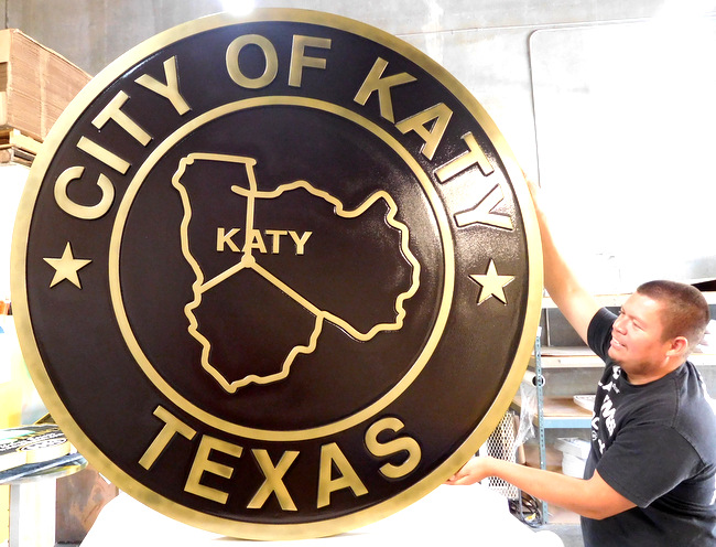 DP-1580 - Carved Plaque of the Seal of the City of Katy, Texas,  Brass Plated
