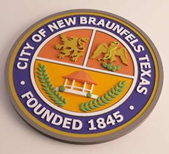X33103 -  3-D Carved  HDU  Plaque of the Seal of the City of New Braunfels, Texas.