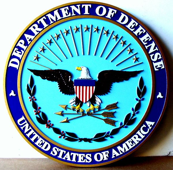 V31102 - Carved 3D Wall Plaque of the Great Seal of the Department of Defense (US DoD)