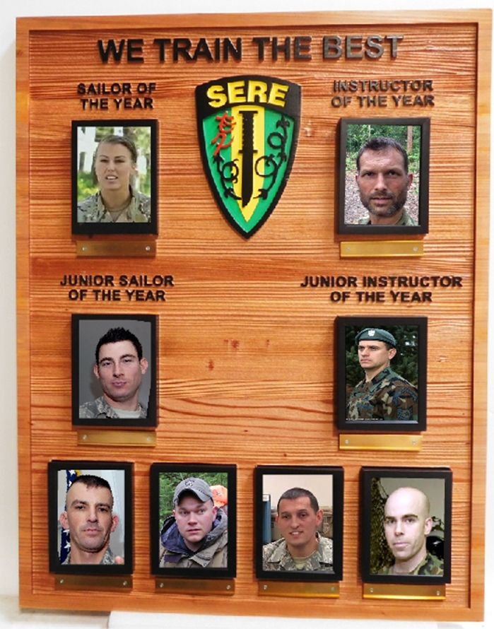 JP-1510 - Carved Cedar Wood  Plaque for Award Photo Plaque for Instructors and Graduates of SERE (Survival, Evasion, Resistance and Escape)  Course