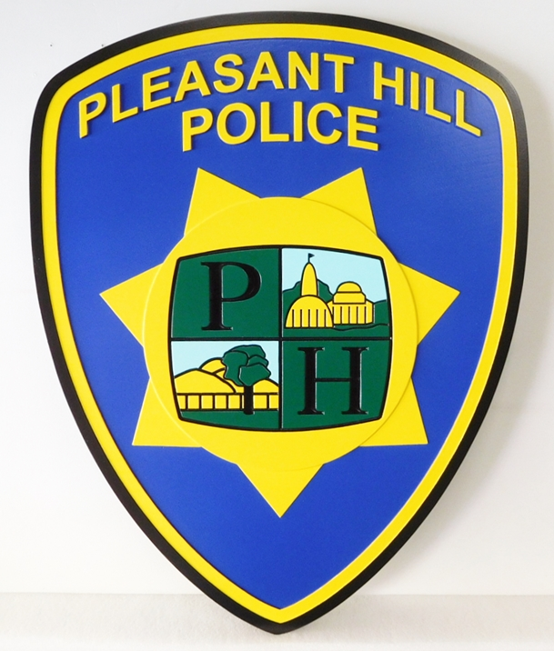 PP-2050 - Carved  Wall Plaque of the Shoulder Patch of the Pleasant Hill Police,  N.Y., Artist Painted