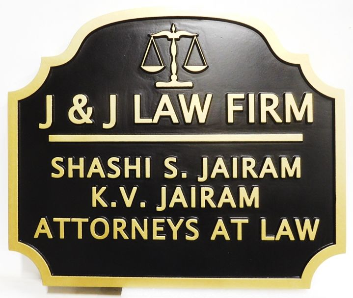 "A10430 - Carved HDU  Sign for ""J & J Law Firm"", 2.5-D"