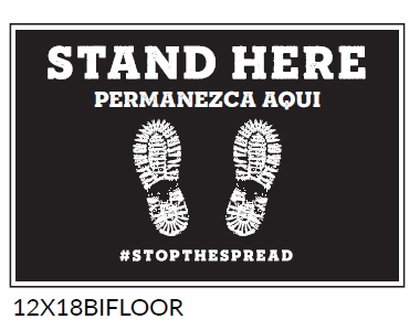Stand here Floor Spanish Graphic