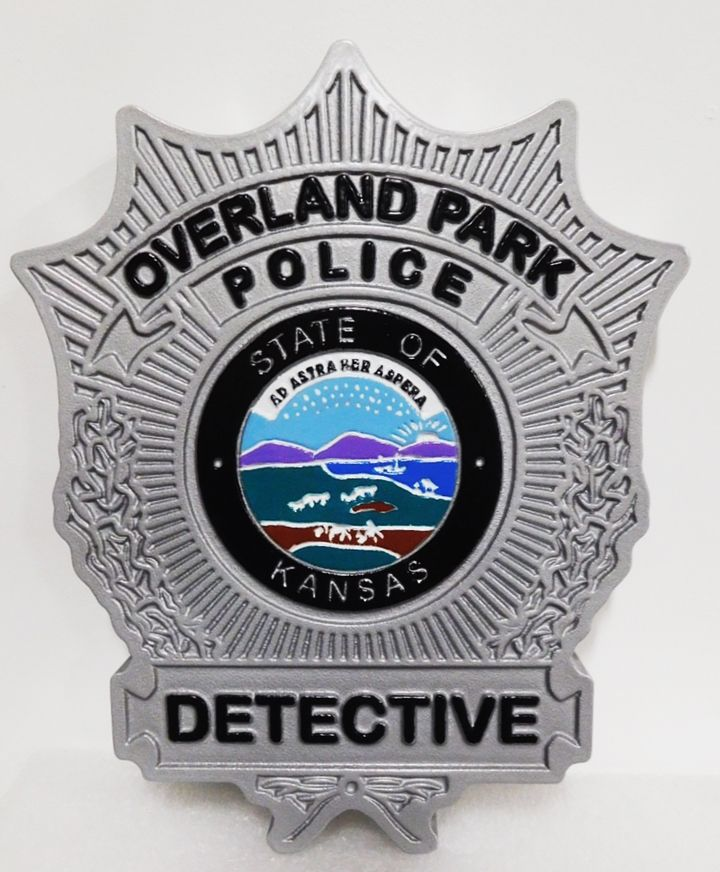PP-1481 - Carved Plaque of the   Badge of a Detective  of the Overland Park Police , 2.5-D Artist-Painted