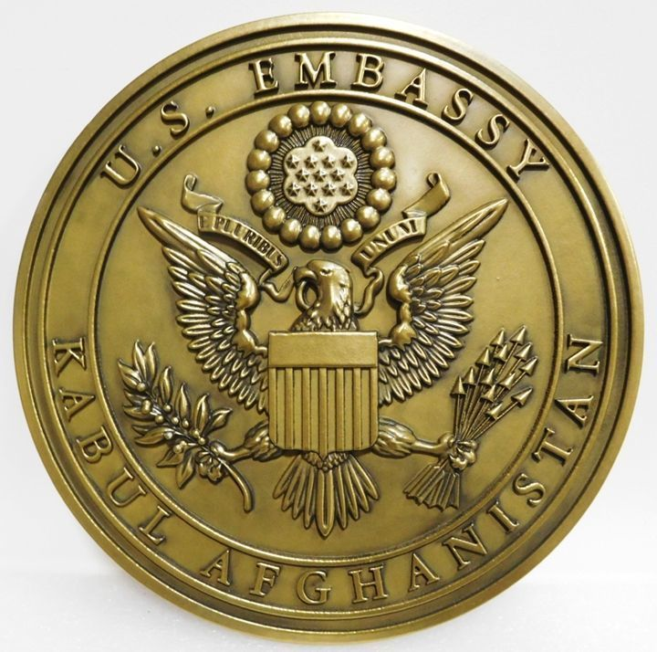 U30311 - Carved 3-D Brass-Plated HDU  Wall Plaque for the US Embassy in Kabul, Afganistan)