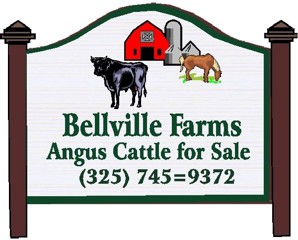 O24832 - Design of Carved HDU or Wood Sign for Farm with Angus Bull, Horse, Barn, and Silo