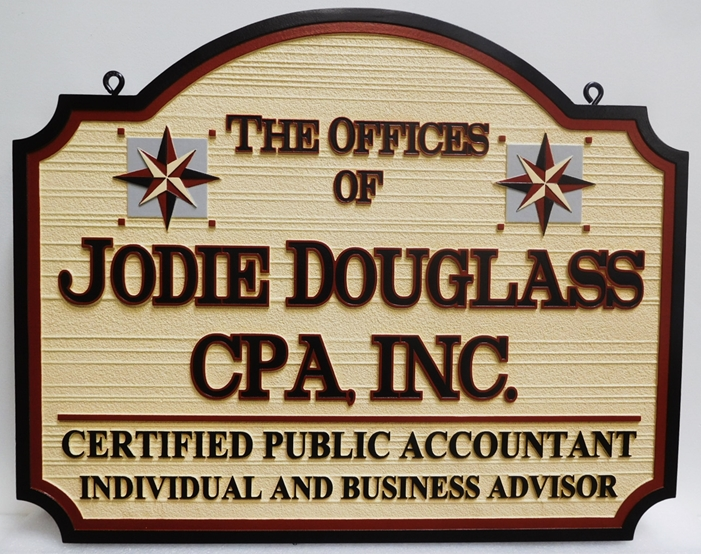 C12066- Carved and Sandblasted HDU Sign for CPA, , 2.5-D  Raised Text and Artwork, Wood Grain Background