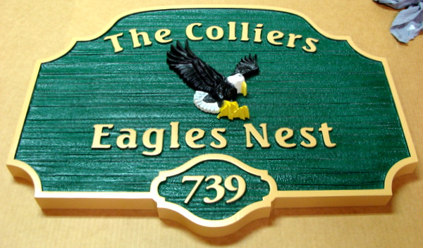 "M22736 - Sandblasted, Carved Sandblasted (Wood Grain)  HDU Name and Address Sign ""eagle's Nest"" with 3-D  Eagle"