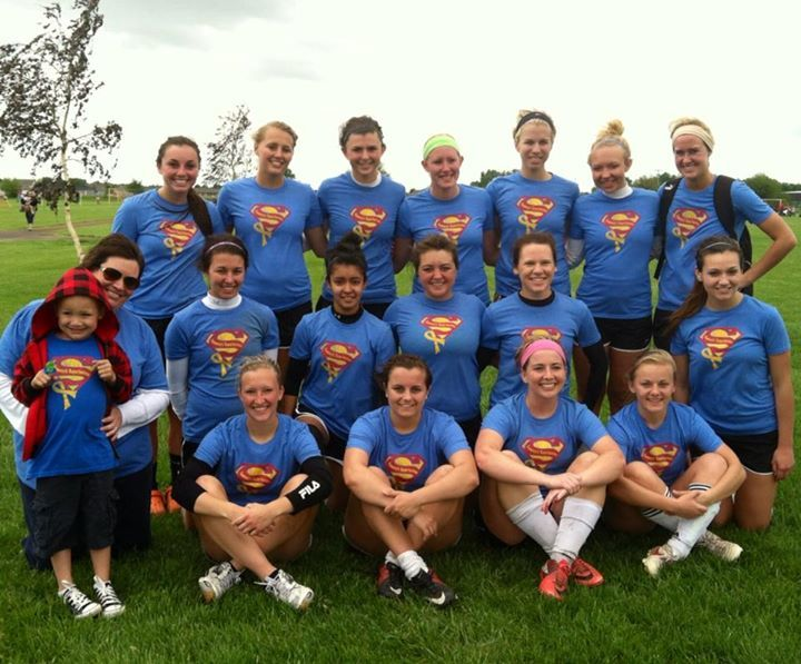 """Sammy and Mom with the """"Sammy's Superheroes"""" team at the Columbus Classic Soccer Tournament! Thanks girls!! We loved watching you play!"""
