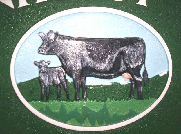 O24114 - Close Up View of Farm Sign with Cow and Calf