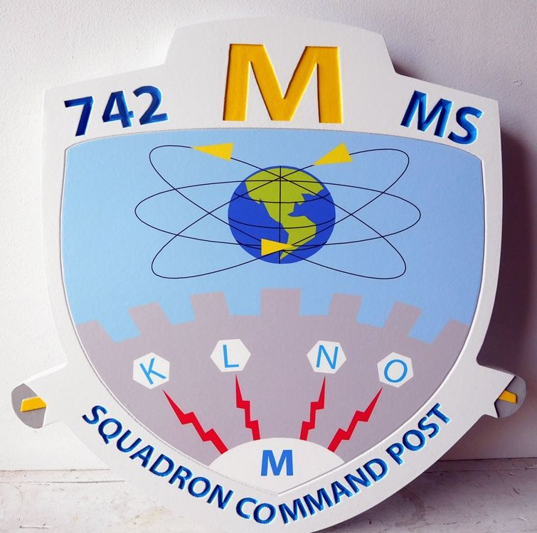V31639 - Wall Plaque Featuring the Crest of the USAF 742 MS Squadron Command Post