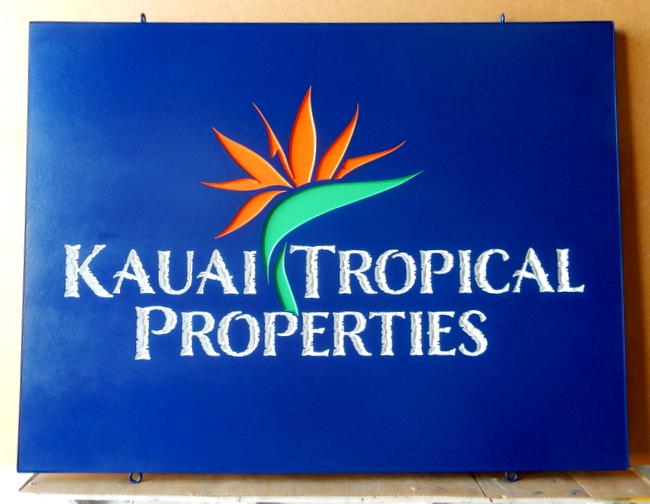 "L21812 - Real Estate Sign ""Kauai Tropical Properties"" with Carved Bird of Paradise"