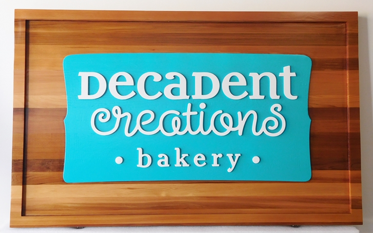 Q25643 - Carved Cedar Wood Sign with Central HDU Plaque for Decadent Creations Bakery