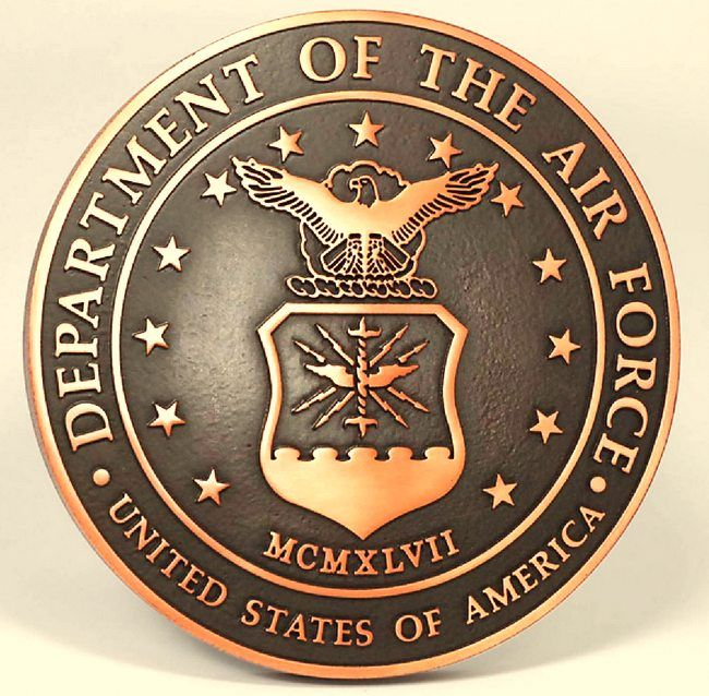V31508 - 2.5-D Brass Carved Wall Plaque of the Seal of the United States Air Force
