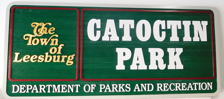 GA16468 - Carved, HDU Sign for a (Department of Parks and Recreation) Town Park