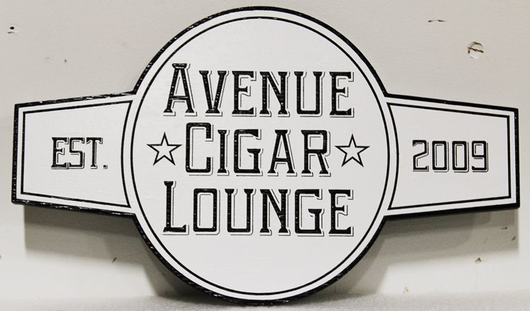RN27109 - Carved 2.5-D HDU Sign for the Avenue Cigar Lounge