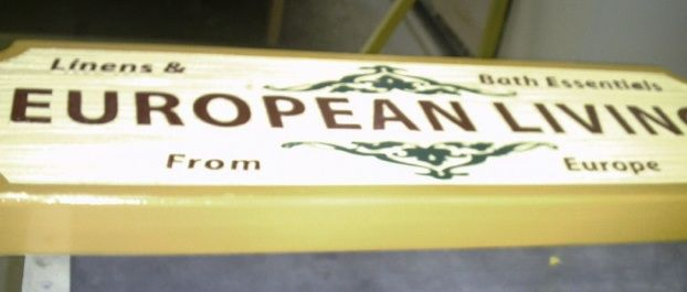 """SA28403 - Carved 2.5-D HDU Sign for the  """"European Linen and Bath Essentials"""" Store"""