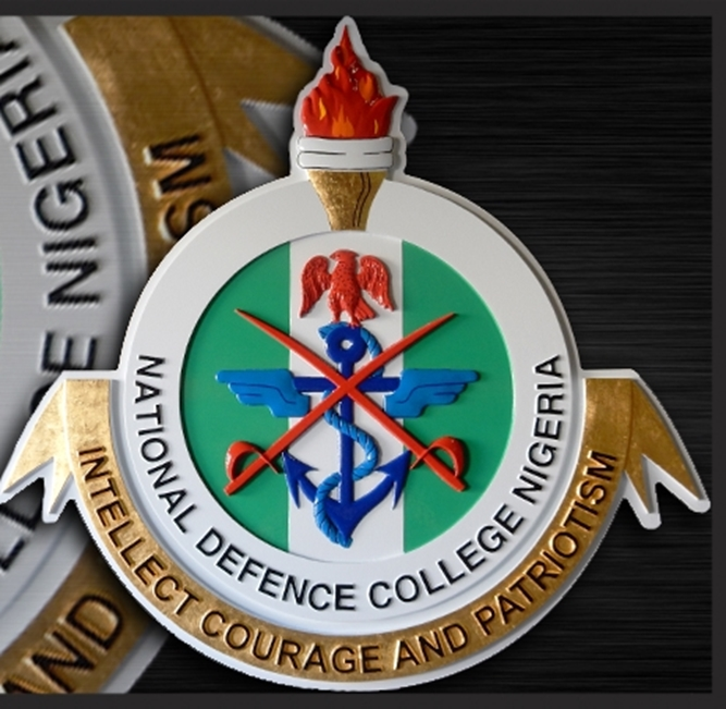 """OP-1080 - Carved Plaque, National Defense College of Nigeria, """"Intellect, Courage and Patriotism"""",  Artist Painted"""