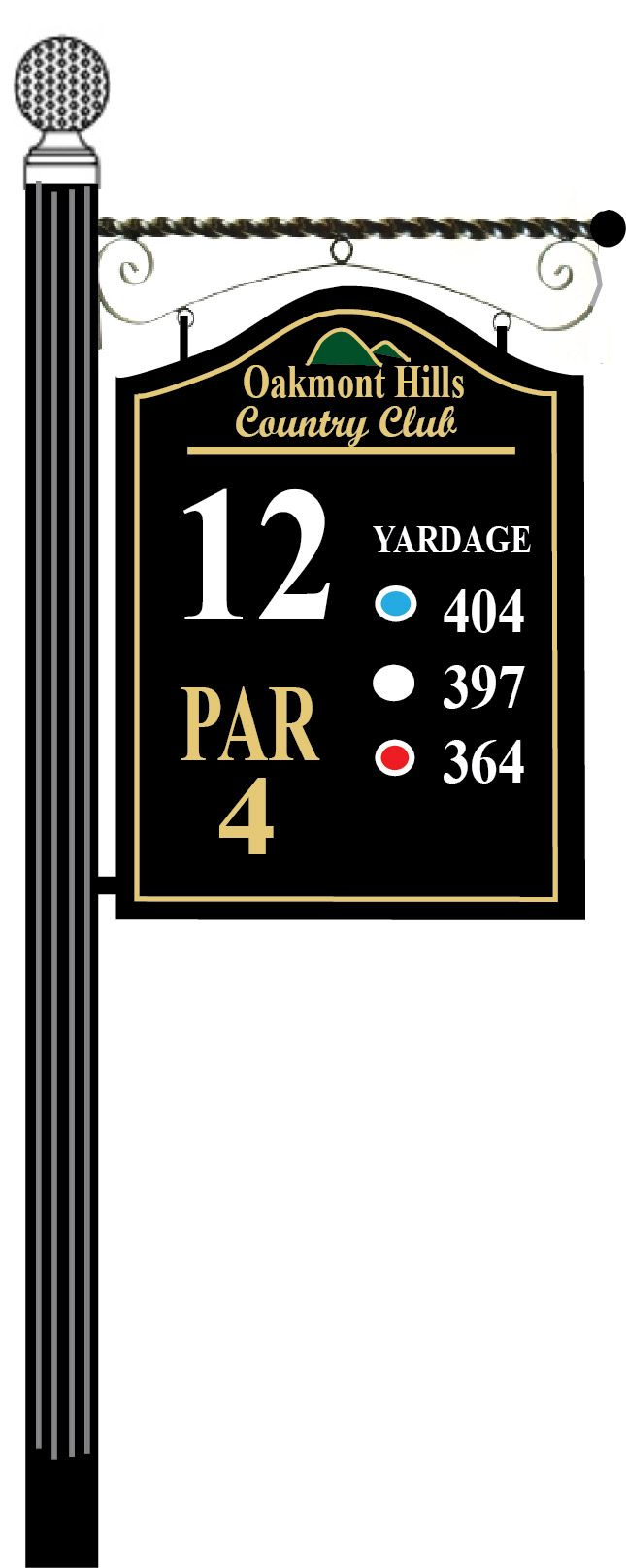 E14347 - Wooden Golf Tee Sign Mounted below Wrought Iron Scroll Bar; Golf Ball Finial on Top of Aluminum Post