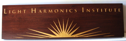 "SA28044 - Mahogany-Stained Wooden Plaque with 24K Gold Image of the Sun for the ""Light Harmonics Institute"""