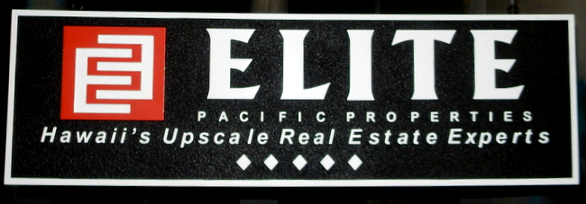 VP-1200 - Carved Wall Plaque of the Logo of Elite Pacific Properties, Artist Painted